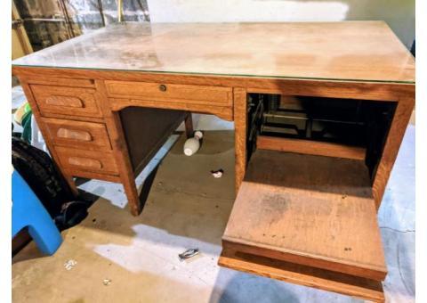 Antique solid oak secretary desk